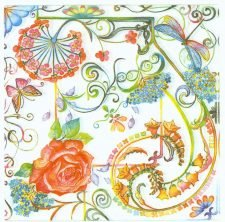 Decoupage Paper Napkins | Roses Butterflies and Dragonfly | Summer Napkins | Floral Napkins | Garden Napkins | Paper Napkins for Decoupage