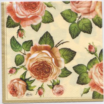 Decoupage Paper Napkins | Roses on Gold | Paper Napkins for Decoupage