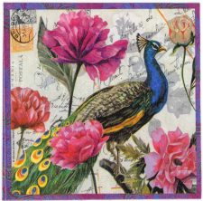 Decoupage Paper Napkins | Saravan Peacock with Flowers and Postmarks Persia Iran  | Summer Napkins Lunch Napkins Paper Napkins for Decoupage