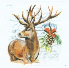Decoupage Paper Napkins |  Stag in Winter Snow | Wildlife Napkins | Winter Napkins | Paper Napkins for Decoupage
