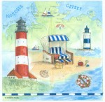 Decoupage Paper Napkins | Summer Beach Sea Shore Seashells Lighthouse Sand | Summer Napkins | Party Napkins | Paper Napkins for Decoupage