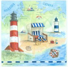 Decoupage Paper Napkins | Summer Beach Sea Shore Seashells Lighthouse Sand | Summer Napkins | Party Napkins | Paper Napkins for Decoupage