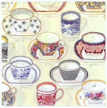 Decoupage Paper Napkins | Tea Cup Collection  | Tea Party Napkins | Lunch Napkins | Paper Napkins for Decoupage