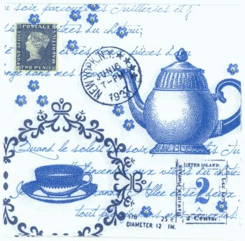 Decoupage Paper Napkins | Tea Cup and Pot with Post Card and Postmarks | Tea Napkins | Paper Napkins for Decoupage
