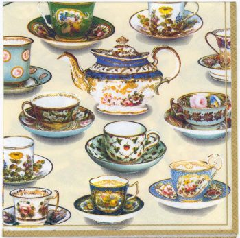 Decoupage Paper Napkins | Tea Room Table Tea Cups Tea Pot | Tea Party Napkins | Lunch Napkins | Paper Napkins for Decoupage