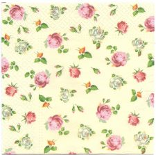 Decoupage Paper Napkins   Tiny Roses on Champagne Background    Paper Napkins for Decoupage