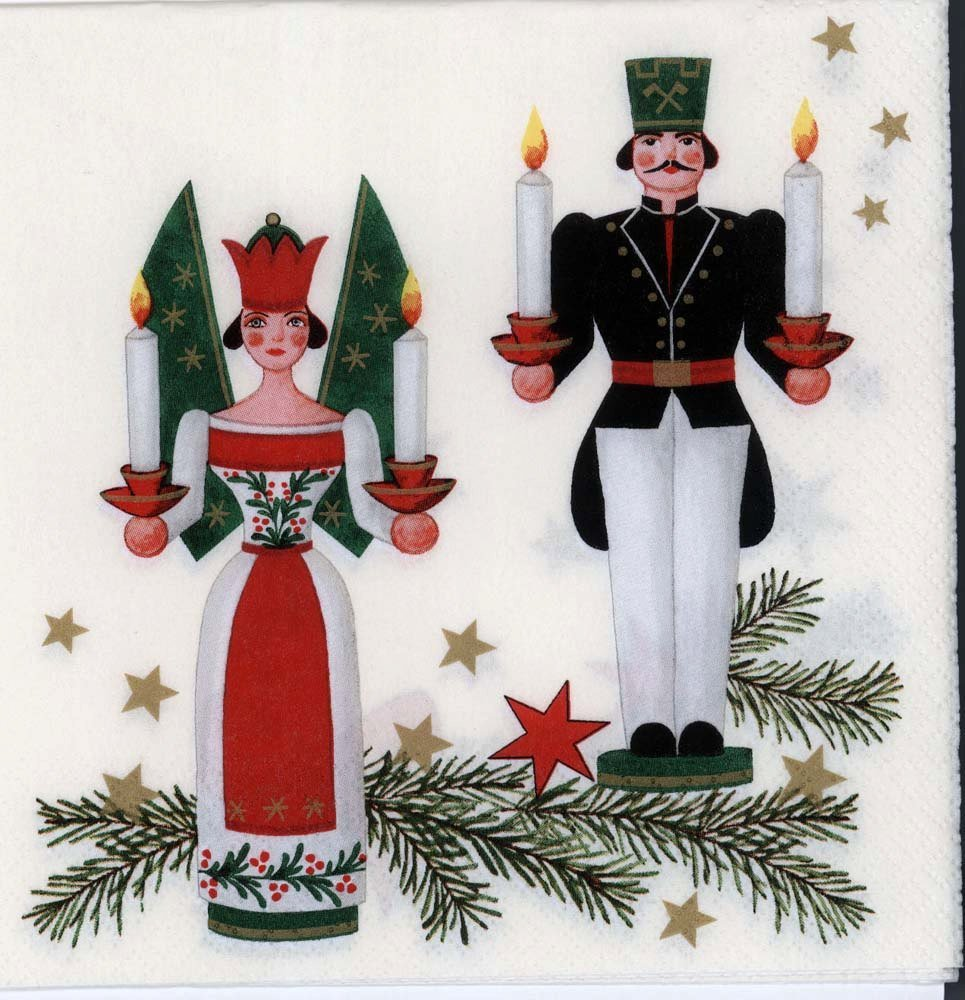 Decoupage Napkins Of Vintage Erzgebirgs German Christmas Ornaments