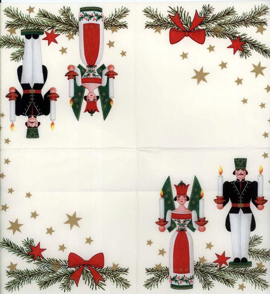 German Christmas Ornaments.Decoupage Napkins Of Vintage Erzgebirgs German Christmas Ornaments