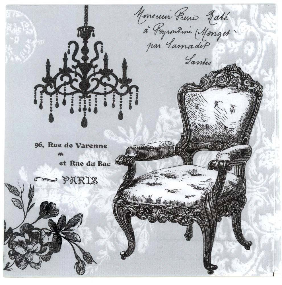 Decoupage Napkins of Vintage Paris French Baroque Chair  : decoupage paper napkins vintage french baroque chair chandelier CHN00372 01 from chiarotino.com size 991 x 1000 jpeg 219kB