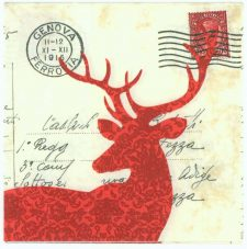 Decoupage Paper Napkins | Vintage Italian Postcard Stag Silhouette Genoa Postmark | Napkin Decoupage | Paper Napkins for Decoupage