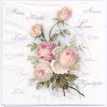 Decoupage Paper Napkin | Vintage Roses of Amour | Paper Napkins for Decoupage