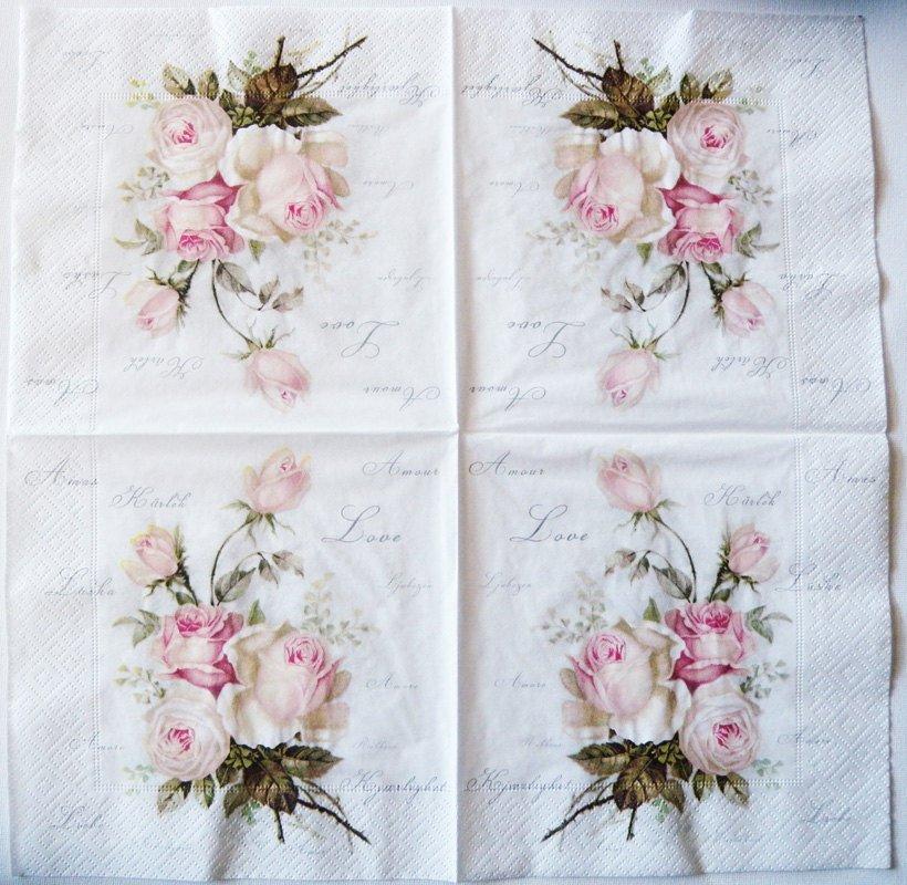 Decoupage Napkins Of Vintage Roses Amour Chiarotino