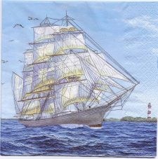 Decoupage Paper Napkins | Vintage Tall Sailing Ship at Sea | Paper Napkins for Decoupage