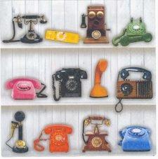 Decoupage Paper Napkins | Vintage Telephone Collection | Retro Napkins | Phone Napkins Technology Napkins| Paper Napkins for Decoupage