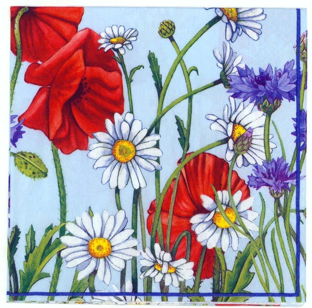 Decoupage Napkins Of Wild Flower Garden Daisies