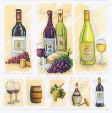 Decoupage Paper Napkins | Wine Bottles Grapes Barrels Corkscrew Cheese | Wine Napkins | Summer Party Napkins | Paper Napkins for Decoupage