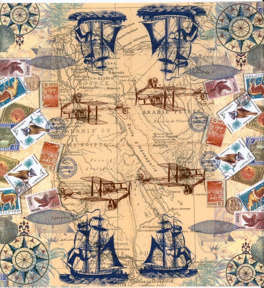 Vintage Travel Trailers: Decoupage Paper Napkins Of Vintage Travel World Map Tall