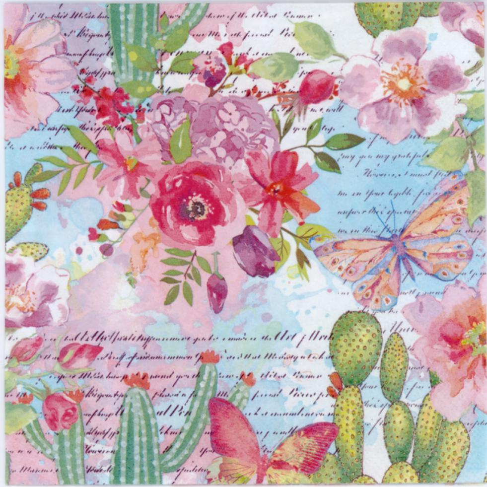decoupage napkins of butterfly in the cactus and rose garden