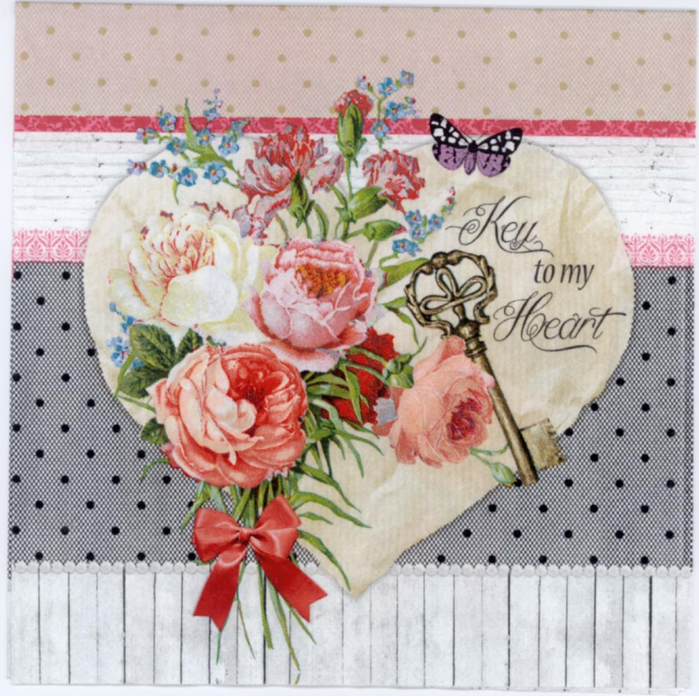 Decoupage Paper Roses Heart Tag Napkins Luncheon Napkins Key To Heart