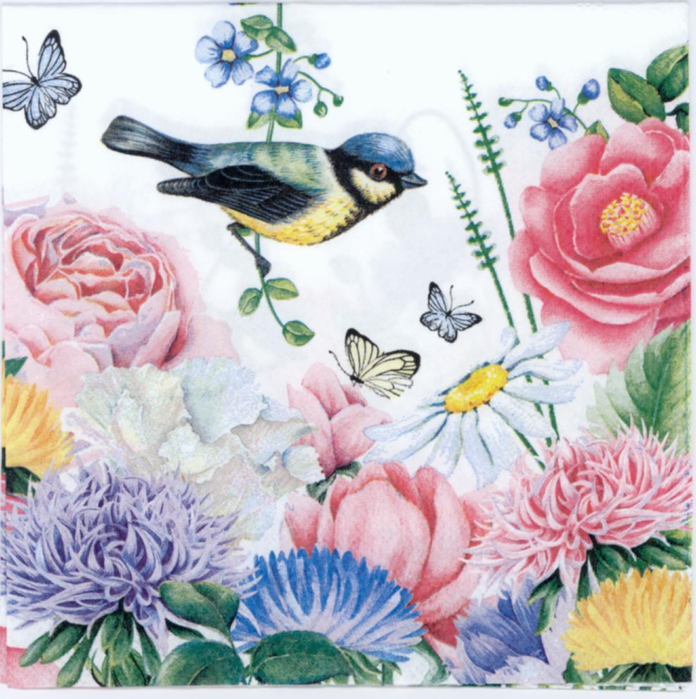 Decorative Paper napkins of Bird in the delightful spring garden