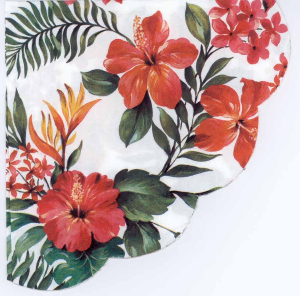 Decoupage Napkins Hawaiian Red Napkins Round Tropical Red Flower
