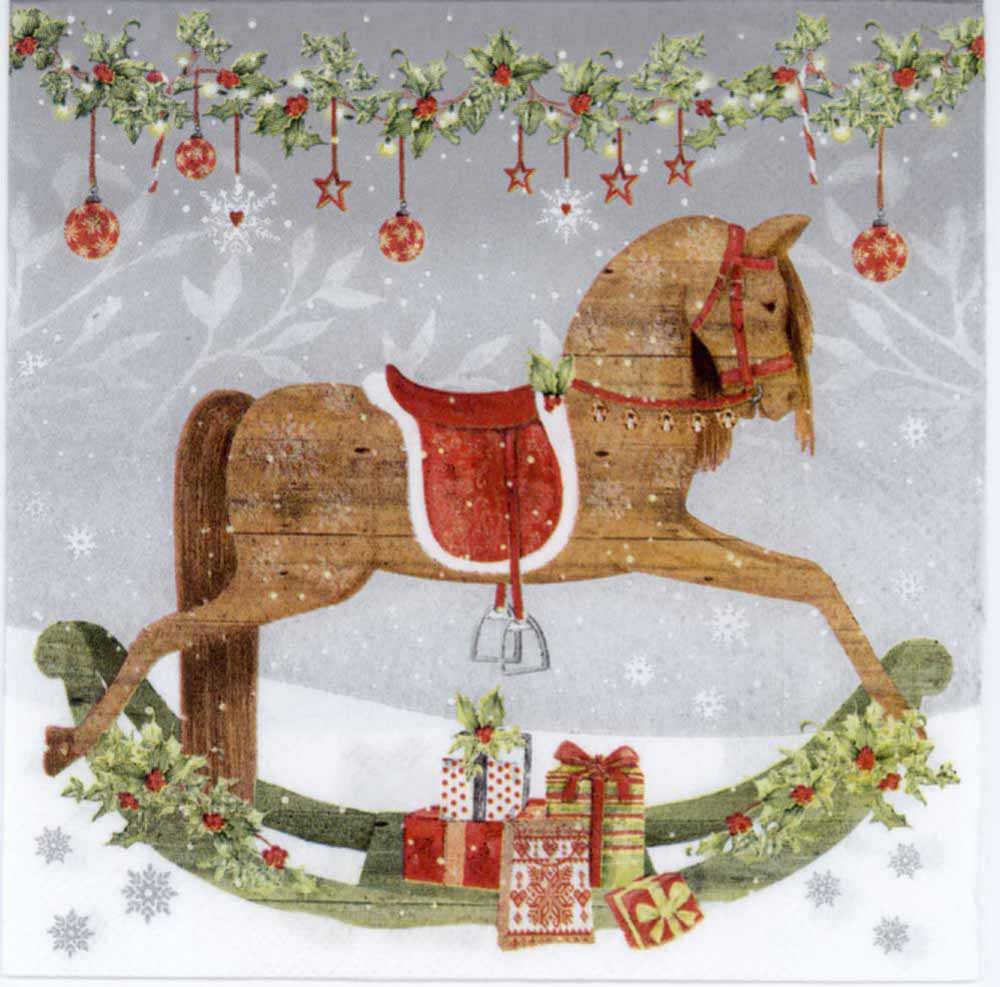 Decoupage Napkins Christmas Rocking Horse Napkin