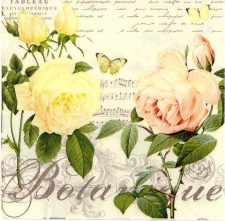 Decoupage Napkins   Flower Napkins  Pastel Roses Butterfly and Music   Paper Napkins for Decoupage