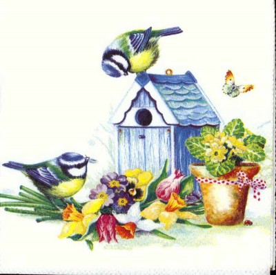 Designer Paper Napkins | Summer Birds and Birdhouse | Bird Napkins | Paper Napkins for Decoupage 1