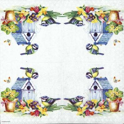 Designer Paper Napkins | Summer Birds and Birdhouse | Bird Napkins | Paper Napkins for Decoupage 2
