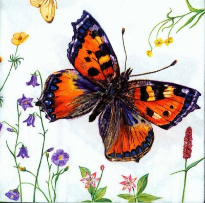 Designer Paper Napkins | Five Butterflies |Butterfly Napkins | Paper Napkins for Decoupage 1