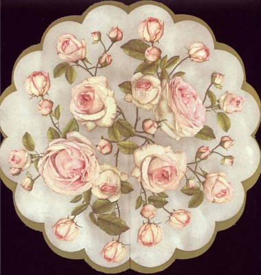 Round Paper Napkins   Pastel Roses  Rose Napkins   Decoupage Paper Napkins 1