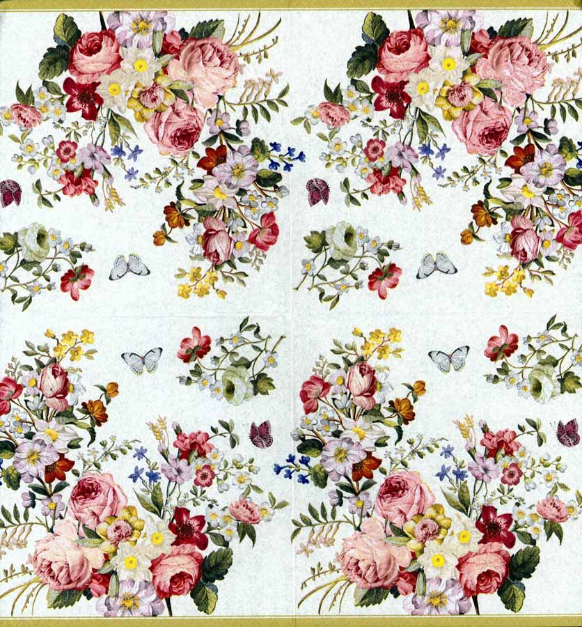 Decoupage paper napkins of rose garden butterflies for Landscape design paper