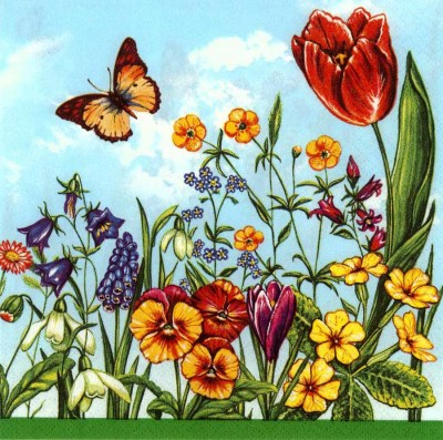 Designer Paper Napkins | Summer Garden Flowers Butterflies | Flower Napkins | Paper Napkins for Decoupage 1