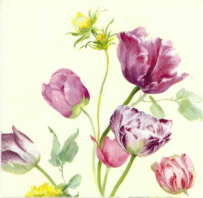 Designer Paper Napkins   Water Color Tulips   Paper Napkins for Decoupage 1