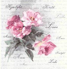 Decoupage Napkins   Floral Napkins  Vintage Roses of Love  Paper Napkins for Decoupage