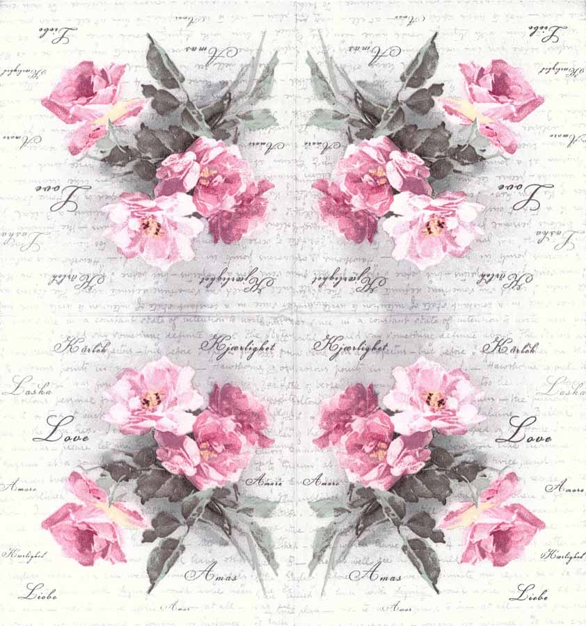 decoupage paper napkins of vintage roses of love