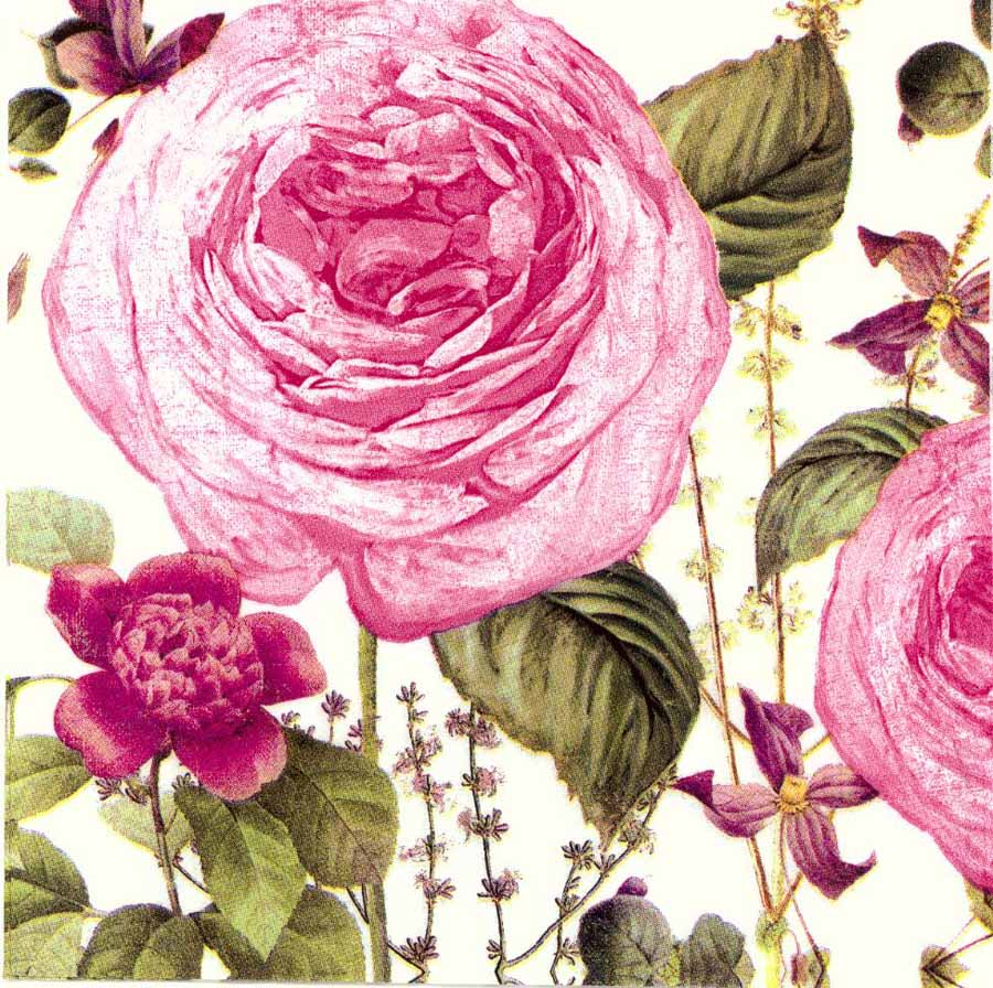 Decoupage Paper Napkins of Romantic Pink Rose Garden