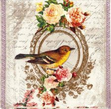 Decoupage Paper Napkins of Vintage Bird and Roses Lunch