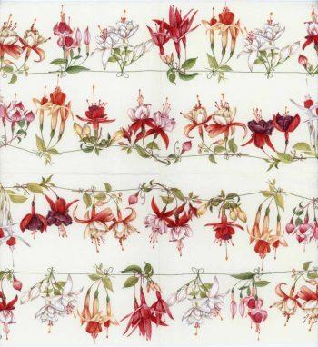 Decoupage Napkins of Red & White Fuchsias   Paper Napkins for Decoupage