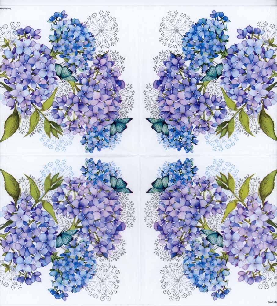Decoupage Paper Of Blue Hydrangeas And Butterfly Napkin