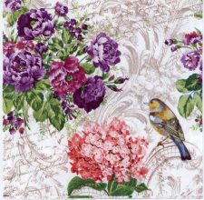 Decoupage Paper Napkins of a Robin and Roses | Paper Napkins for Decoupage