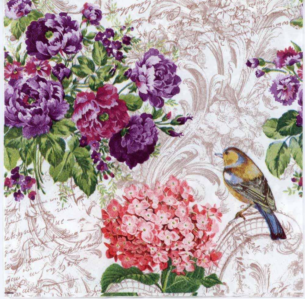 Decoupage Paper Napkins of a Robin and Roses