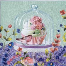 Decoupage Napkins of Cupcake Bird and Flowers | Paper Napkins for Decoupage