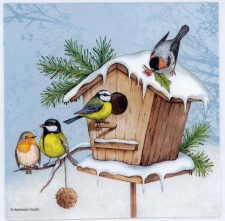 Decoupage Paper Napkins | Birdhouse with Birds in Snow | Paper Napkins for Decoupage