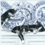 Decoupage Napkins of Black Cats and Blue China | Paper Napkins for Decoupage