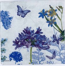 Decoupage Paper of Blue Flowers & Butterflies in a Garden | Paper Napkins for Decoupage