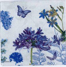 Decoupage Paper of Blue Flowers & Butterflies in a Garden   Paper Napkins for Decoupage