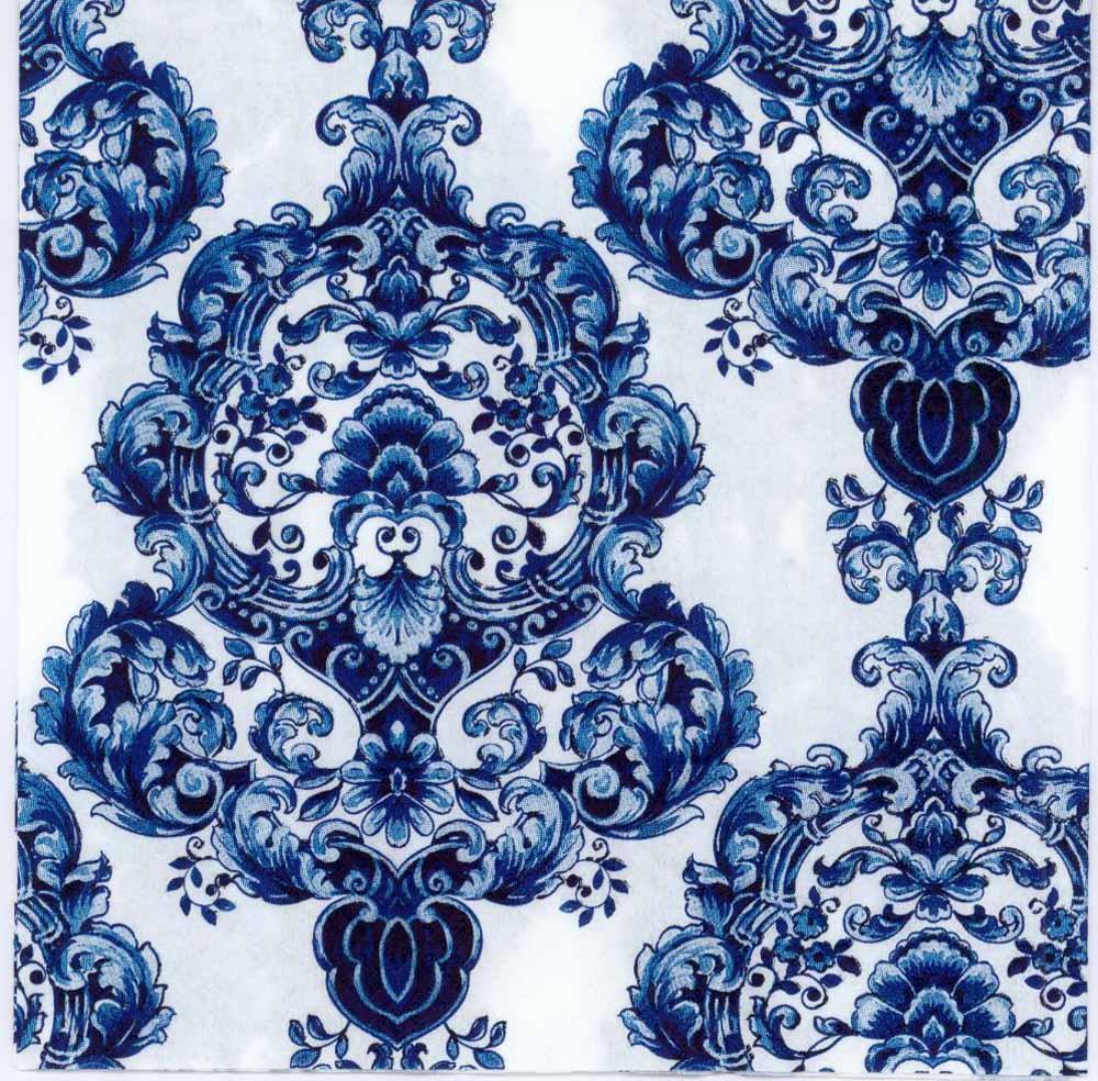 Decoupage Paper of Blue Porcelain Pattern