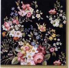 Decoupage Paper Napkins of Rose Garden & Butterflies on Black | Paper Napkins for Decoupage