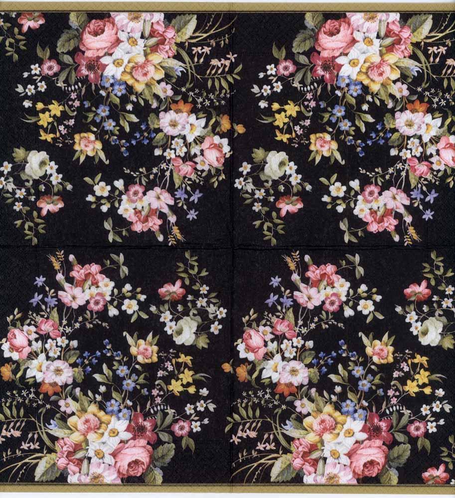 Decoupage Paper Napkins of Rose Garden \u0026 Butterflies on Black